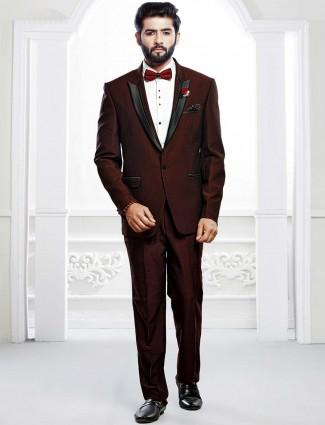 Wedding function maroon hue tuxedo suit