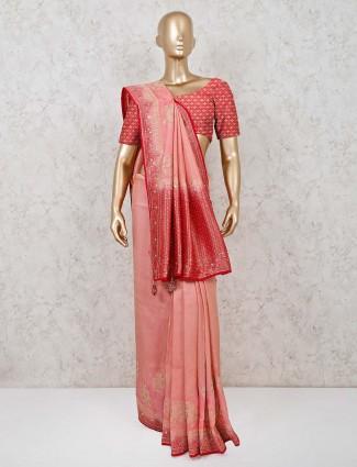 Wedding function muga silk peach saree