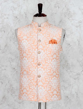 Wedding function peach color silk waistcoat