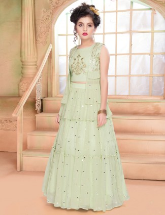 Wedding function pista green georgette lehenga choli
