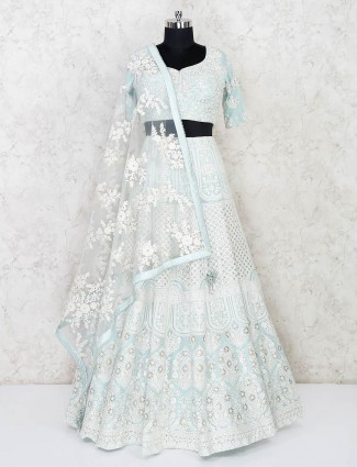 Wedding function sky blue georgette lehenga choli