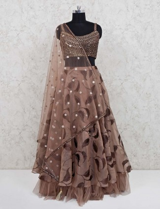 Wedding function tissue silk lehenga choli in light brown