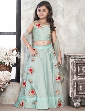 Wedding girls sky blue color choli suit