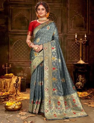 Wedding grey soft silk saree with zari thread weaving