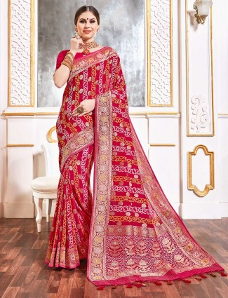 Wedding magenta and red bandhej georgette saree
