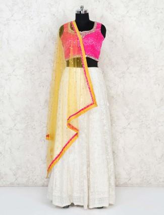 Wedding magenta and white bandhej silk lehenga choli