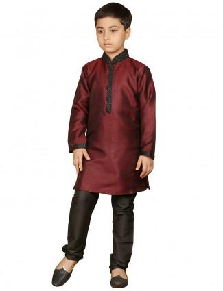 wedding maroon brocade boys kurta suit