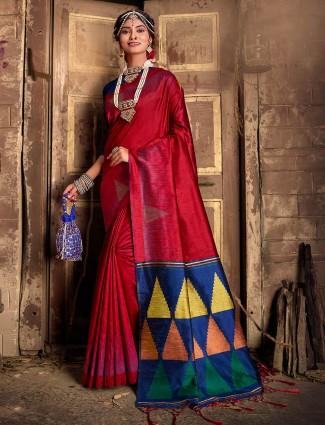 Wedding maroon saree in cotton silk