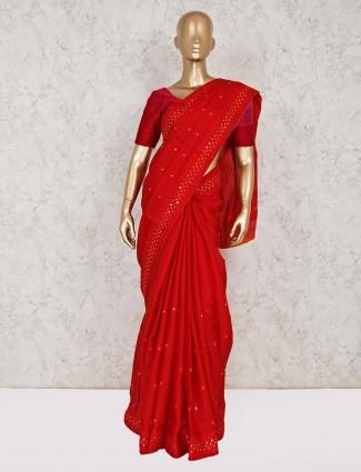 Wedding maroon semi silk saree