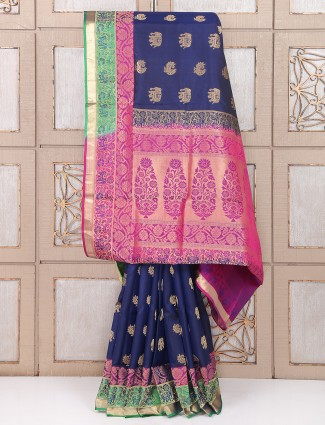 Wedding navy silk fabric saree