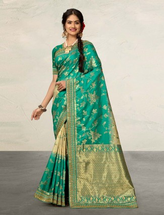 Wedding occasion green banarasi silk saree