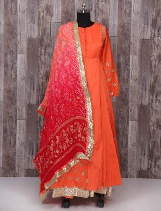 Wedding orange color silk anarkali suit