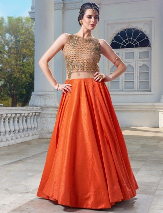 Wedding orange silk anarkali suit