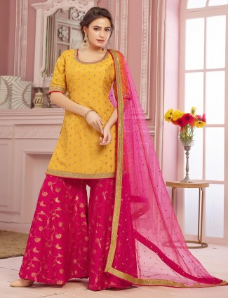 Wedding palazzo suit in yellow and magenta