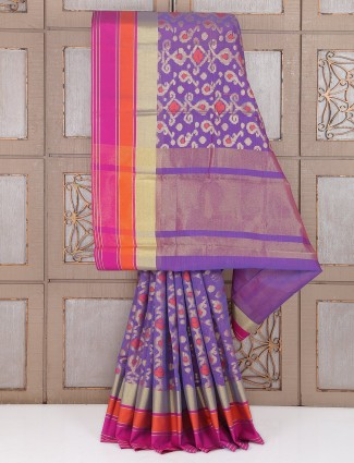Wedding purple cotton saree