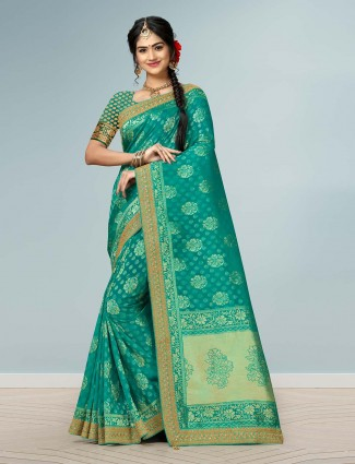 Wedding rama green cotton silk saree
