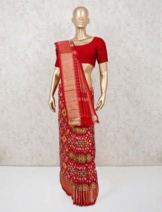 Wedding red hydrabadi patola silk woven saree