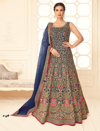 Wedding royal navy silk anarkali suit