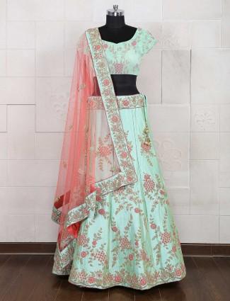 Wedding sea green semi stitched lehenga choli