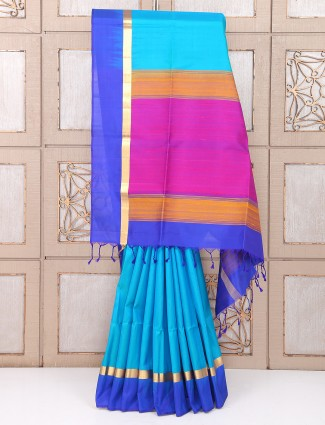 Wedding silk blue color saree