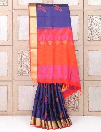Wedding silk navy color saree