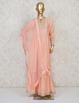Wedding special Peach sharara suit with beautiful embroidery