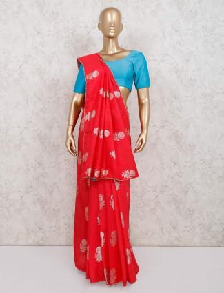 Wedding special red dola silk saree