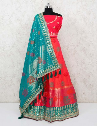 Wedding special semi stitched red lehenga with green checks dupatta