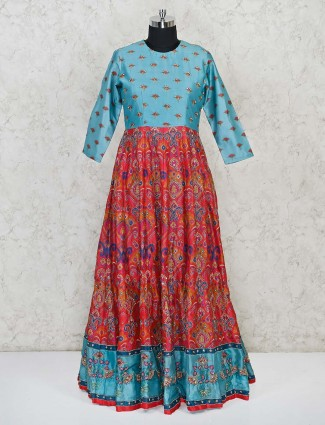 Wedding special silk anarkali in light blue and red combination
