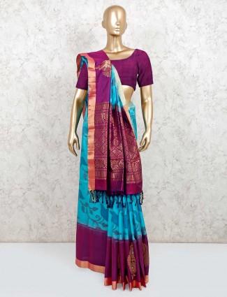 Wedding wear aqua and purple pure silk saree