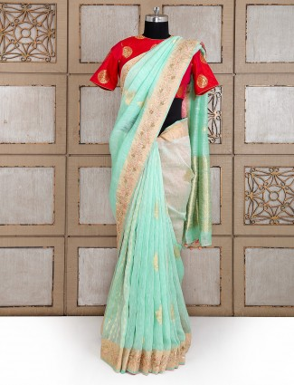 Wedding wear aqua color jaipuri silk saree