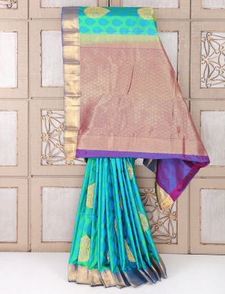 Wedding wear aqua color silk saree