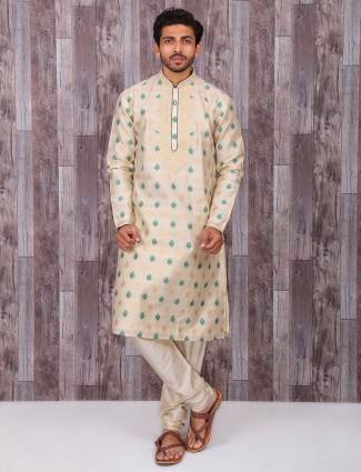 Wedding wear attractive cream kurta suit