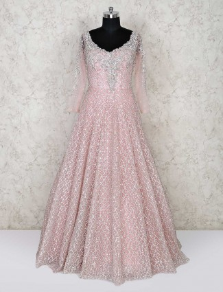 Wedding wear baby pink colored gown