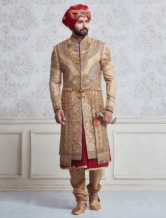 Wedding wear beige and maroon sherwani