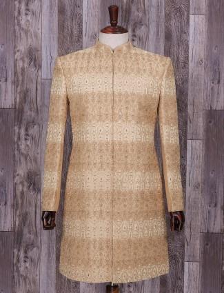 Wedding wear beige classy indo western in silk fabric