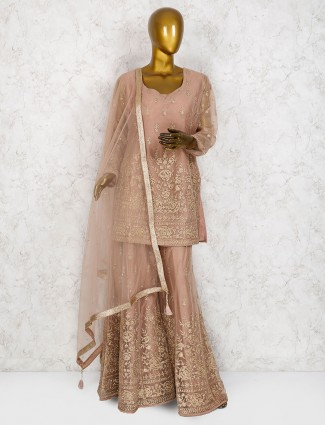Wedding wear beige designer punjabi sharara suit