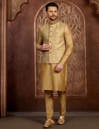 Wedding wear beige hue terry rayon waistcoat set