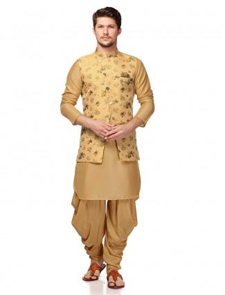 Wedding wear beige hue waistcoat set