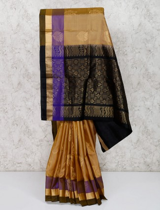 Wedding wear beige south silk saree
