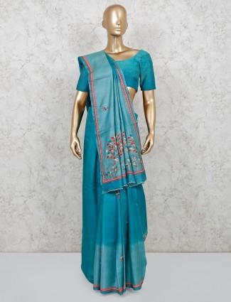 Wedding wear blue handloom cotton saree