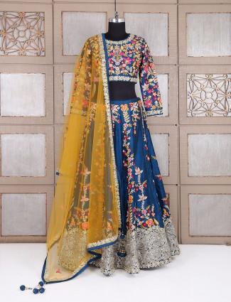 Wedding wear blue silk designer lehenga choli