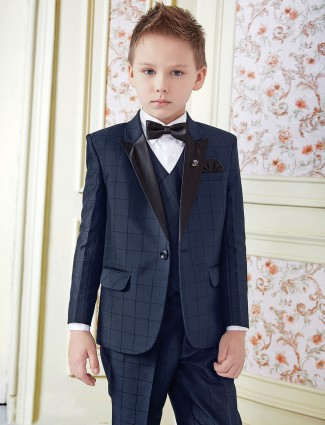 Wedding wear blue tuxedo suit for boys
