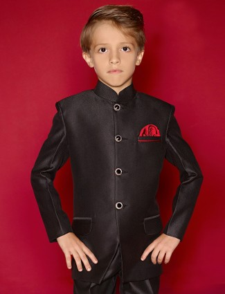 Wedding wear boys plain black terry rayon jodhpuri coat suit