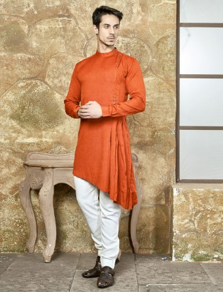 Wedding wear bright orange kurta suit