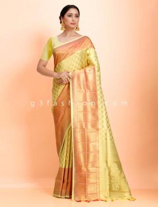 Wedding wear bright yellow art kanjivaram silk wedding wear exclusive saree
