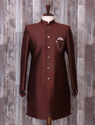 Wedding wear brown color silk indo western