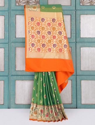 Wedding wear classic green color silk saree