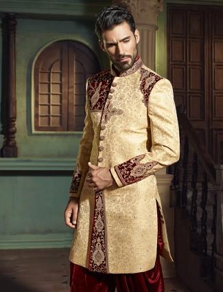 Wedding wear classy cream silk indo western