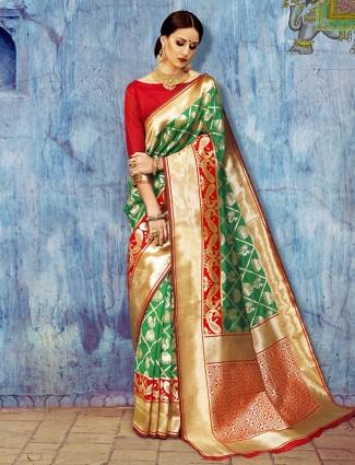 Wedding wear classy green saree